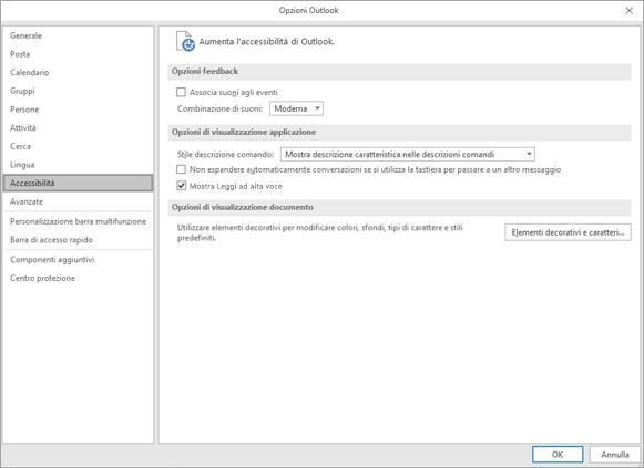 Accessibilità nelle impostazioni di Outlook.