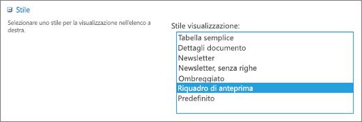 Opzioni per lo stile nella pagina Impostazioni visualizzazione