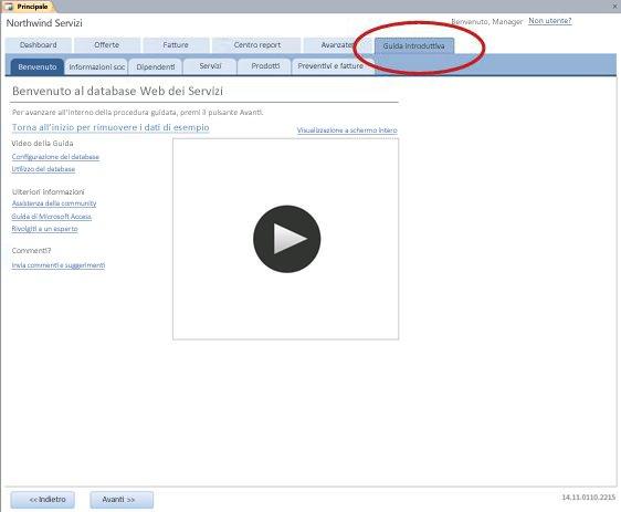 Scheda Introduzione del modello di database Web Servizi