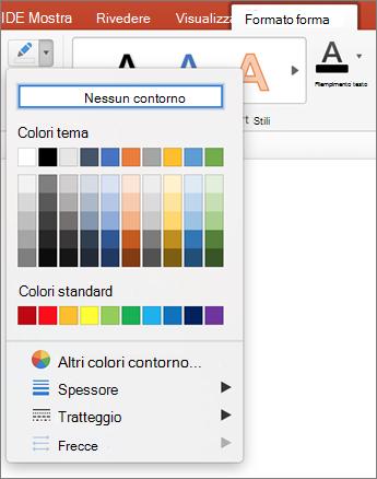 Fare clic sull'icona contorno forma