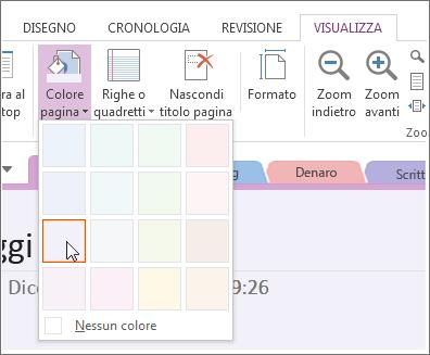 Usare il pulsante Colore pagina per modificare il colore di sfondo di una pagina.