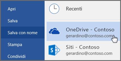 Guida introduttiva per i dipendenti: salvare in OneDrive da Word