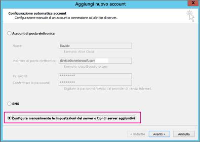 Scegliere Configura manualmente le impostazioni del server o tipi di server aggiuntivi.