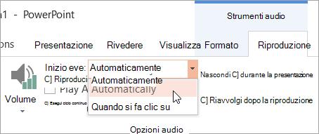 Selezione di un'opzione Start nella scheda Riproduzione in Strumenti audio