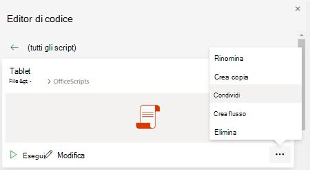Office Menu di scelta rapida script