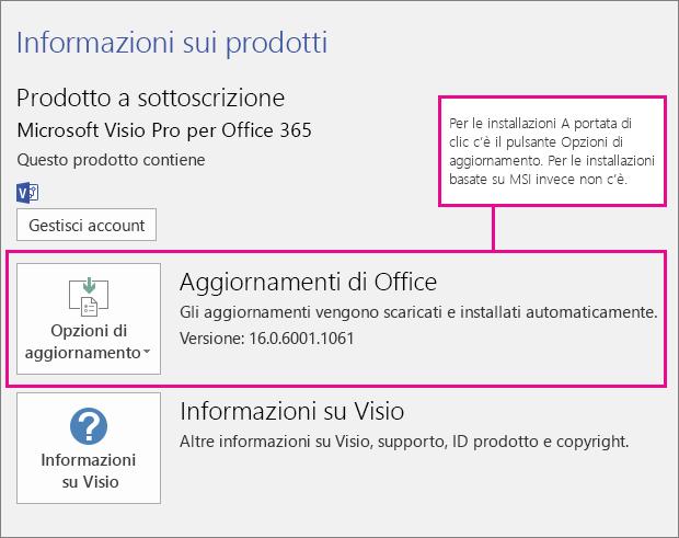 Per le installazioni tramite A portata di clic è presente un pulsante Opzioni di aggiornamento nella pagina Account. Per le installazioni basate su MSI, questo pulsante non è presente.