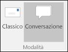 Selezionare la visualizzazione classica o conversazione.