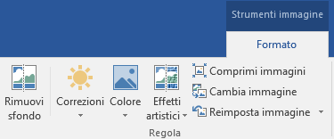 Il pulsante Rimuovi sfondo si trova nella scheda formato di strumenti immagine della barra multifunzione di Office 2016.