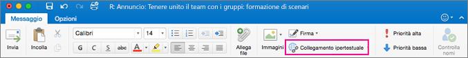 Pulsante Collegamento ipertestuale sulla barra multifunzione di Outlook per Mac