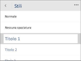 Screenshot del menu Stili in Word Mobile con l'opzione Titolo 1 selezionata.