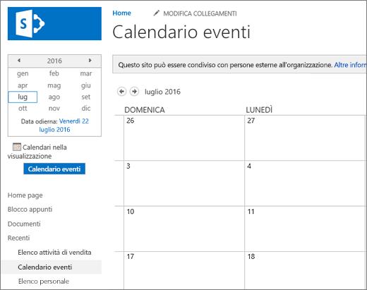 Esempio di app elenco dei calendari.