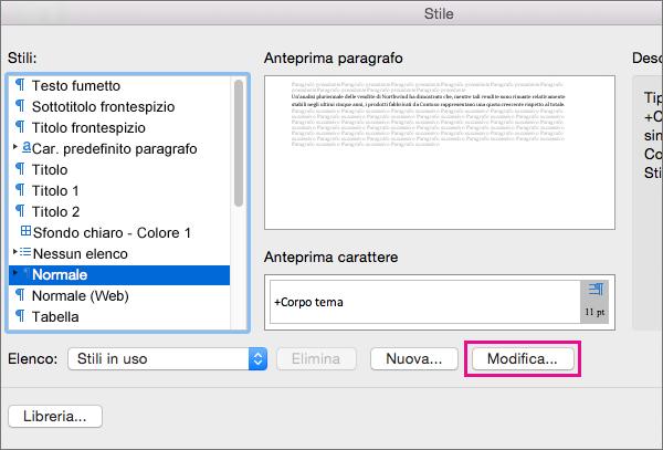 Fare clic su Modifica per apportare modifiche allo stile selezionato.