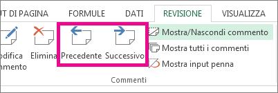 Fare clic su Successivo o Precedente nella scheda Revisione