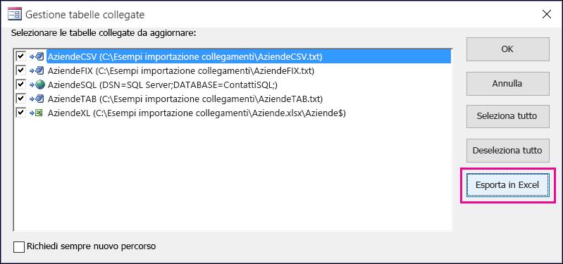 Finestra di dialogo Gestione tabelle collegate in Access con il pulsante Esporta in Excel selezionato.