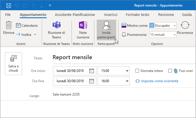 Pianificare un appuntamento in Outlook