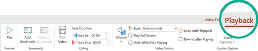 Scheda riproduzione, strumenti Video sulla barra multifunzione di PowerPoint 2016