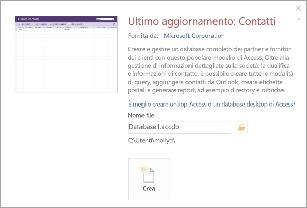 Screenshot dell'interfaccia dell'elenco dei contatti
