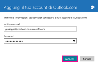 Pagina Aggiungi il tuo account di Outlook.com di Windows 8 Mail