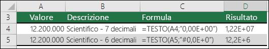 Codici formato per la notazione scientifica