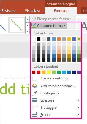 Opzioni di colore linea in Office