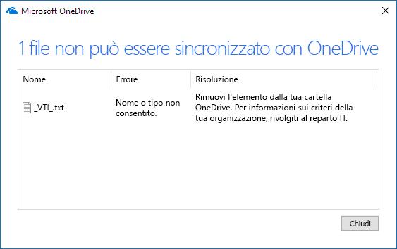 Icona per file di OneDrive che non possono essere sincronizzati