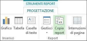 Pulsante Copia report nella scheda Progettazione Strumenti report