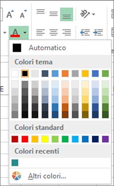 Selezione colori carattere
