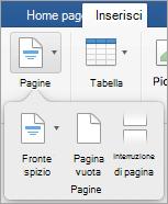 Opzioni del menu di pagine
