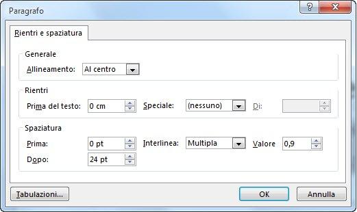 finestra di dialogo paragrafo in powerpoint