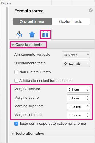 Opzioni della casella di testo evidenziate nel riquadro Formato forma.