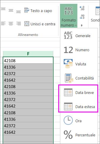 colonna di date in formato testo