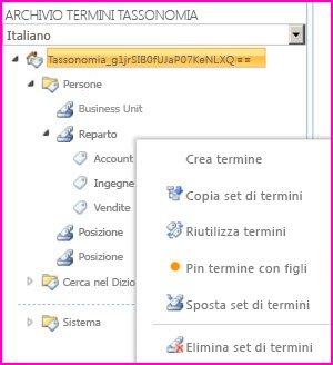 Per aprire il menu che ti consente di aggiungere termini a un set di termini, puoi selezionare il nome di un gruppo nello Strumento di gestione archivio termini