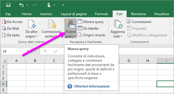Nuova query in Excel 2016