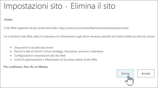 Fare clic su Elimina se si è certi di voler eliminare il sito secondario