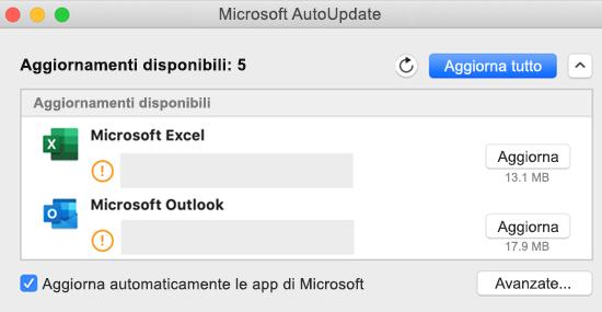 Immagine della dashboard Microsoft AutoUpdate con le informazioni sugli aggiornamenti.