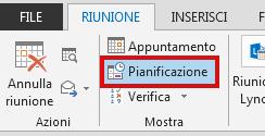 L'opzione Assistente Pianificazione è nella scheda Riunione.