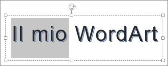 Elemento WordArt con testo parzialmente selezionato