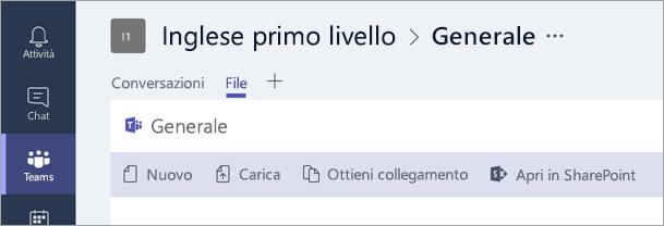 Creare nuovi file nella scheda File.
