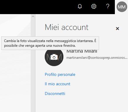 Riquadro Account personale con un cerchio della foto che mostra il passaggio del mouse sull'icona della fotocamera