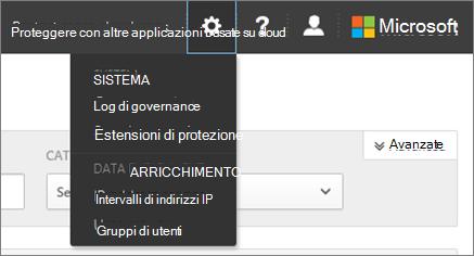 In sicurezza App Cloud di Office 365, scegliere impostazioni per accedere alle impostazioni di sistema e dati