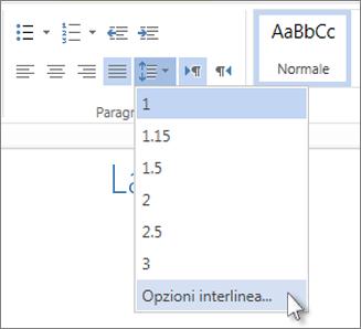 Menu Interlinea in Word Web App