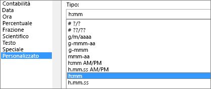 Finestra di dialogo Formato celle, comando Personalizzato, tipo h:mm