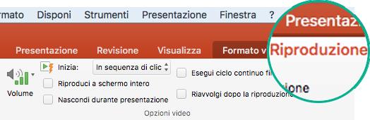 Quando si seleziona un video in una diapositiva, sulla barra multifunzione viene visualizzata la scheda Riproduzione che consente di impostare le opzioni di riproduzione del video.