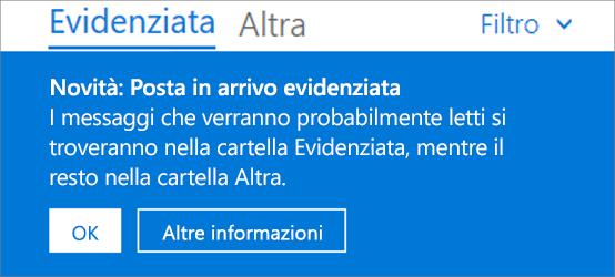Come appare la funzionalità Posta in arrivo evidenziata quando un utente apre Outlook sul Web per la prima volta.