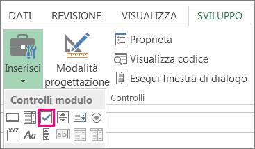 controllo casella di controllo sulla barra multifunzione