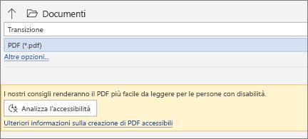 Finestra di dialogo Salva come PDF con la finestra di messaggio gialla che invita a controllare l'accessibilità del PDF prima del salvataggio