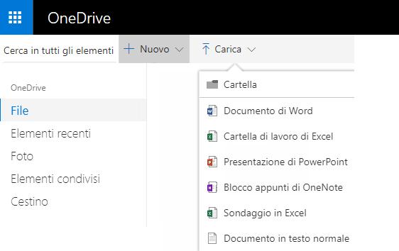 Screenshot della creazione di un documento da OneDrive.com