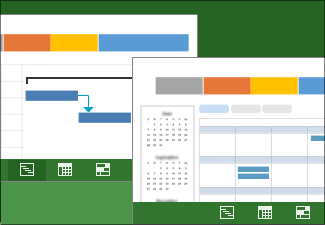Immagini di due visualizzazioni di un piano di progetto