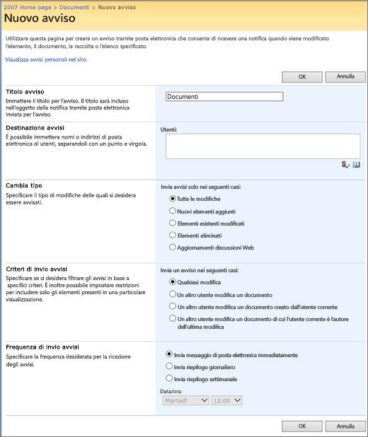 Pagina Opzioni di avviso di SharePoint 2007