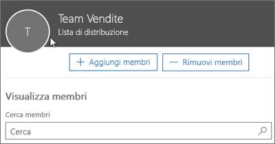 Screenshot: Aggiungere membri a una lista di distribuzione